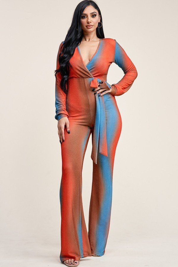 Multi Color Metallic Nylon Long Sleeve Jumpsuit - Boujee Boutique Incorporated