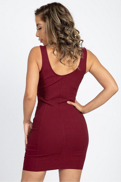 V Wire Sleeveless Mini Dress - Boujee Boutique Incorporated