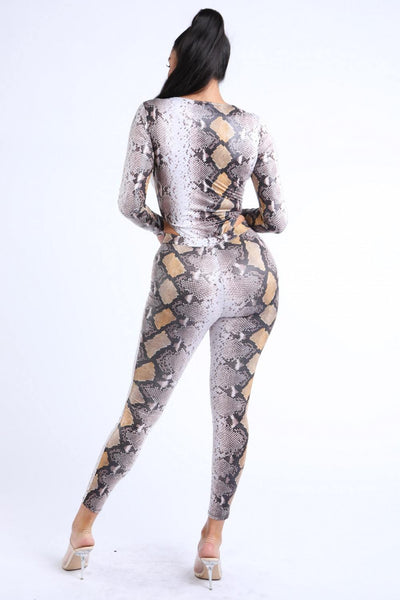 Foiled Snake Printed Bodysuit Leggings Sets - Boujee Boutique Incorporated