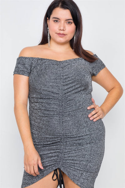 Plus Size Ruched Draw String Center Mini Glitter Dress - Boujee Boutique Incorporated