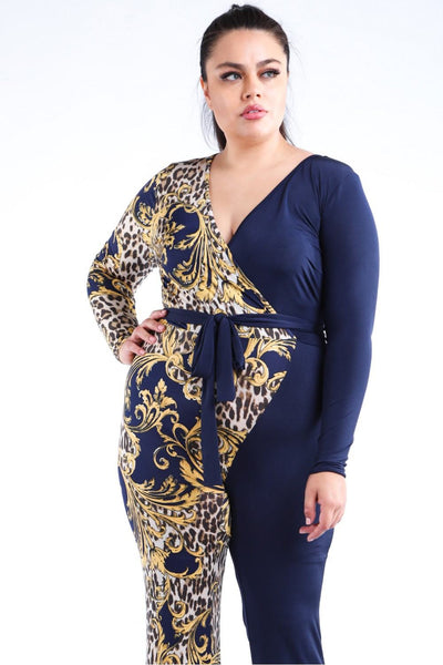Leopard Paisley Printed Color Blocked Jumpsuit - Boujee Boutique Incorporated