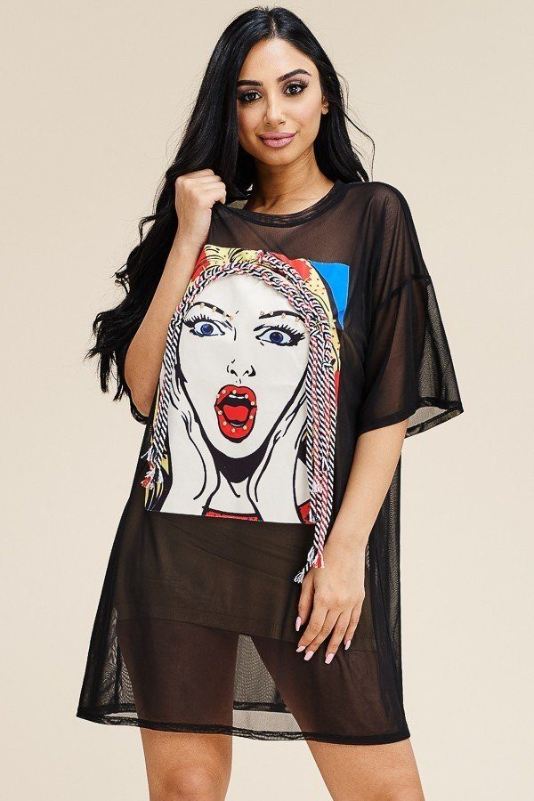 Short Sleeve Mesh Tunic Dress With Patch On The Front - Boujee Boutique Incorporated