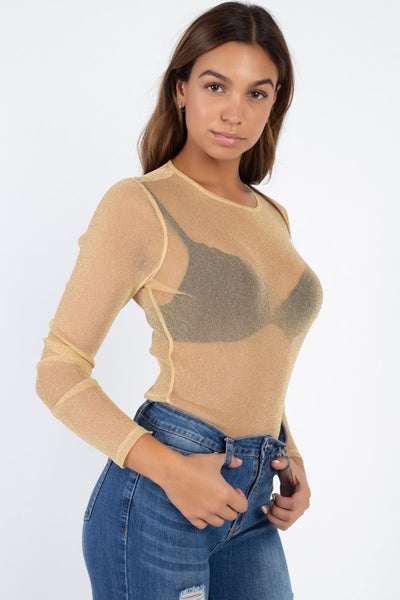 Sheer Mesh Metallic Top - Boujee Boutique Incorporated