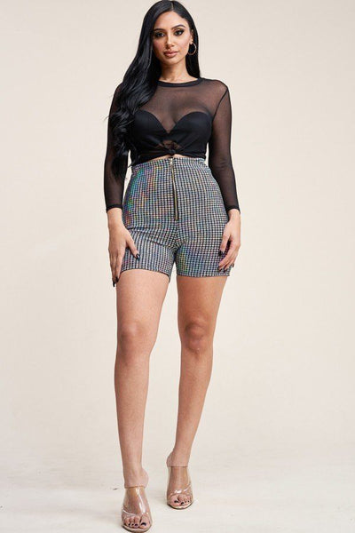 3/4 Sleeve Solid Power Mesh Top And Holographic Shorts - Boujee Boutique Incorporated