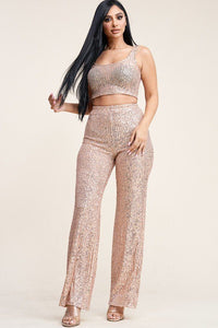 Sequence Tank Top And High Rise Wide Lag Pants Two Piece Set - Boujee Boutique Incorporated