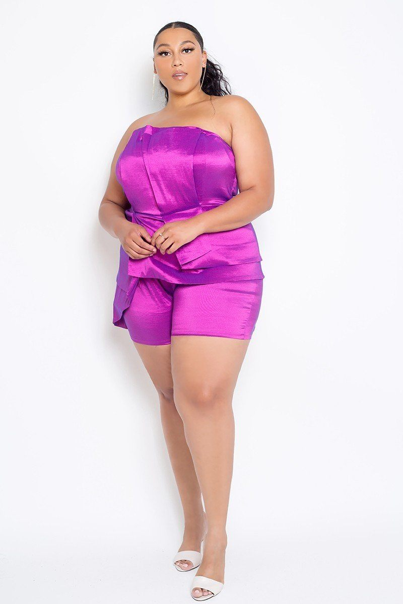 Plus Size Strapless Peplum Romper - Boujee Boutique Incorporated