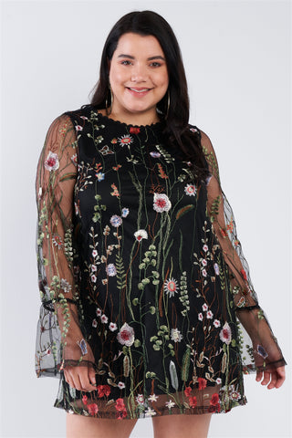 Plus Size Floral Mix Sheer Mock Lace Neck Mini Dress - Boujee Boutique Incorporated