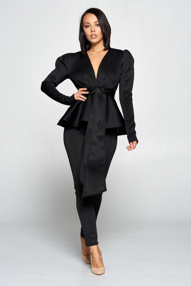 Long Sleeve Deep V Neckline Top With Waist Tie To Make A Bow Detail Paired With Elastic Waist Pants - Boujee Boutique Incorporated