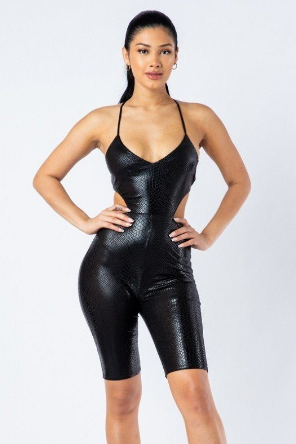 Spaghetti Strap Cut Out Detailed Biker Short Romper - Boujee Boutique Incorporated