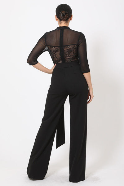 Deep V-neck Mesh See Through W/ Crotchet Jumpsuit - Boujee Boutique Incorporated