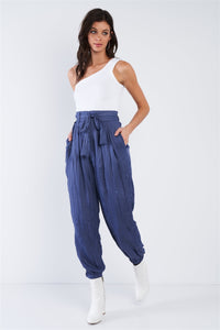 Crushed Satin Cinched Ankle Cuff Self Tie Waist Sash Pants - Boujee Boutique Incorporated