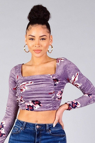 Ruched Velvet Floral Back Tie Crop Top - Boujee Boutique Incorporated