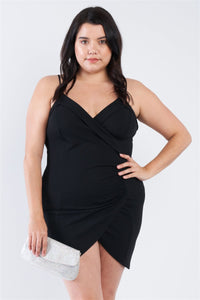 Plus Size Wrap Front Ruched Bodycon Mini Dress - Boujee Boutique Incorporated