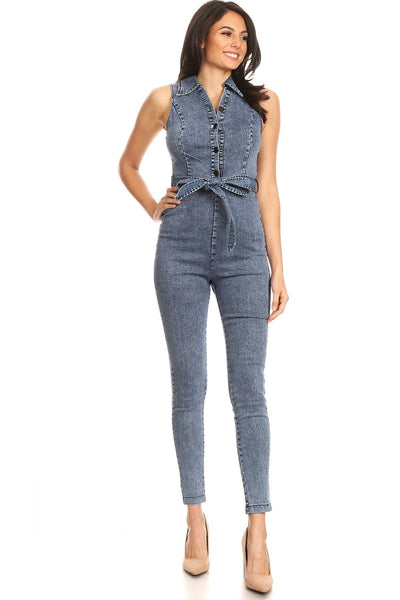 Fitted Denim Jumpsuit With Waist Tie, Button Down Detail, And Collar - Boujee Boutique Incorporated