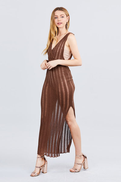 Sleeveless V-neck Side One Side Slit Long Knit Dress - Boujee Boutique Incorporated
