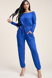 Solid Rayon Spandex Slouchy Jumpsuit With Pockets - Boujee Boutique Incorporated