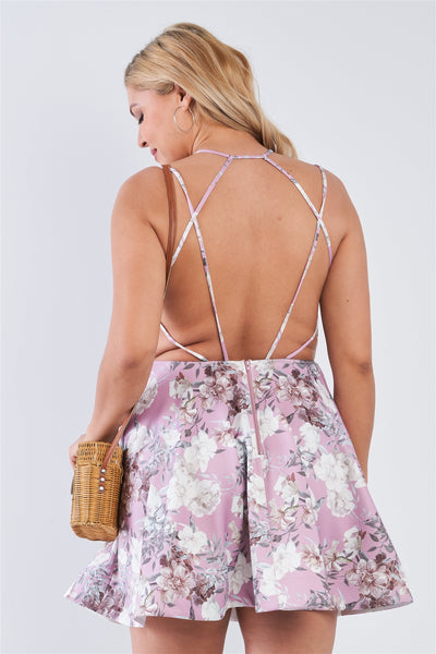 Plus Size Mauve Floral Fit & Flare Cocktail Mini Dress - Boujee Boutique Incorporated