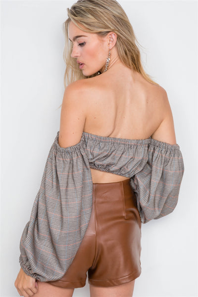 Plaid Center Bow Off-the-shoulder Crop Top - Boujee Boutique Incorporated