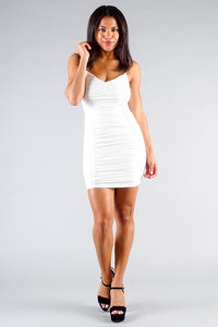 Spaghetti Strap Gathered Front Ruched All Over Mini Dress - Boujee Boutique Incorporated
