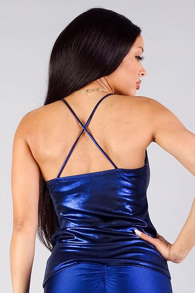 Sparkle Cross Back Cowl Neck Cami - Boujee Boutique Incorporated