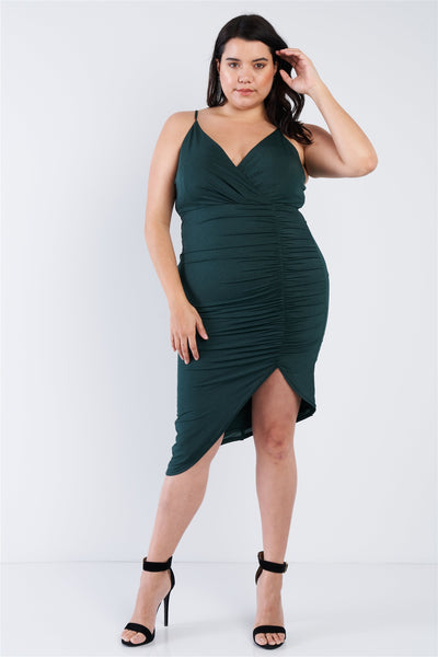 Plus Size A-symmetrical Scrunch Dress - Boujee Boutique Incorporated