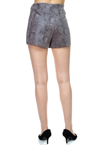 Faux Suede Snake Print Mini Shorts - Boujee Boutique Incorporated