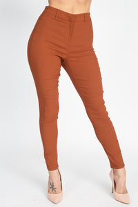 High Rise Solid Skinny Pants - Boujee Boutique Incorporated