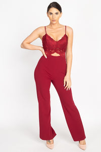 Floral Lace Front Cutout Jumpsuit - Boujee Boutique Incorporated