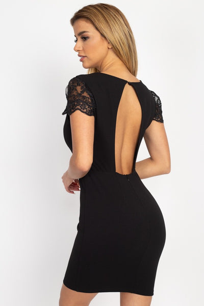 Back Cutout Floral Lace Mini Dress - Boujee Boutique Incorporated
