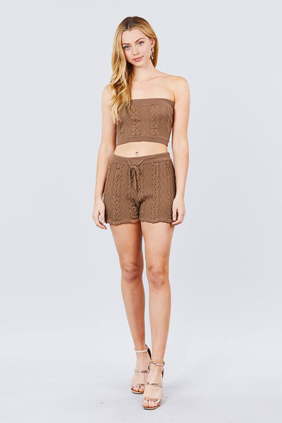 Cable Detail Sweater Tube Top And Sweater Short Pants Set - Boujee Boutique Incorporated