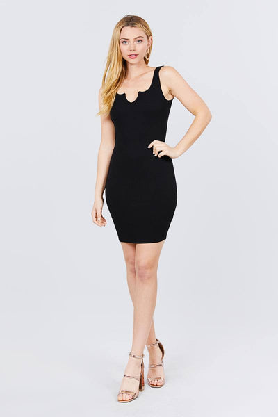 Sleeveless Deep Round V-shape Neck Heavy Rib Mini Dress - Boujee Boutique Incorporated