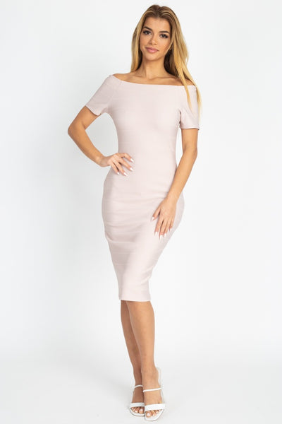 Off The Shoulder Bandage Dress - Boujee Boutique Incorporated