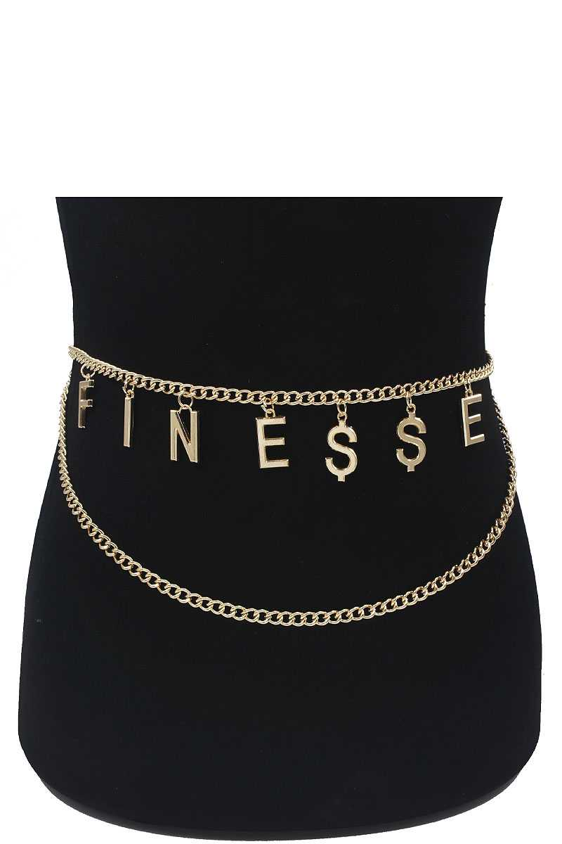 Fashion Chain Layer Belt With Finesse Letter - Boujee Boutique Incorporated