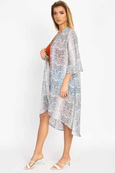 Snakeskin Open Front Kimono - Boujee Boutique Incorporated