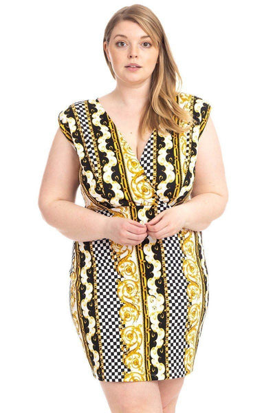 Plus Size Boarder Print  V-neck Bodycon Dress - Boujee Boutique Incorporated