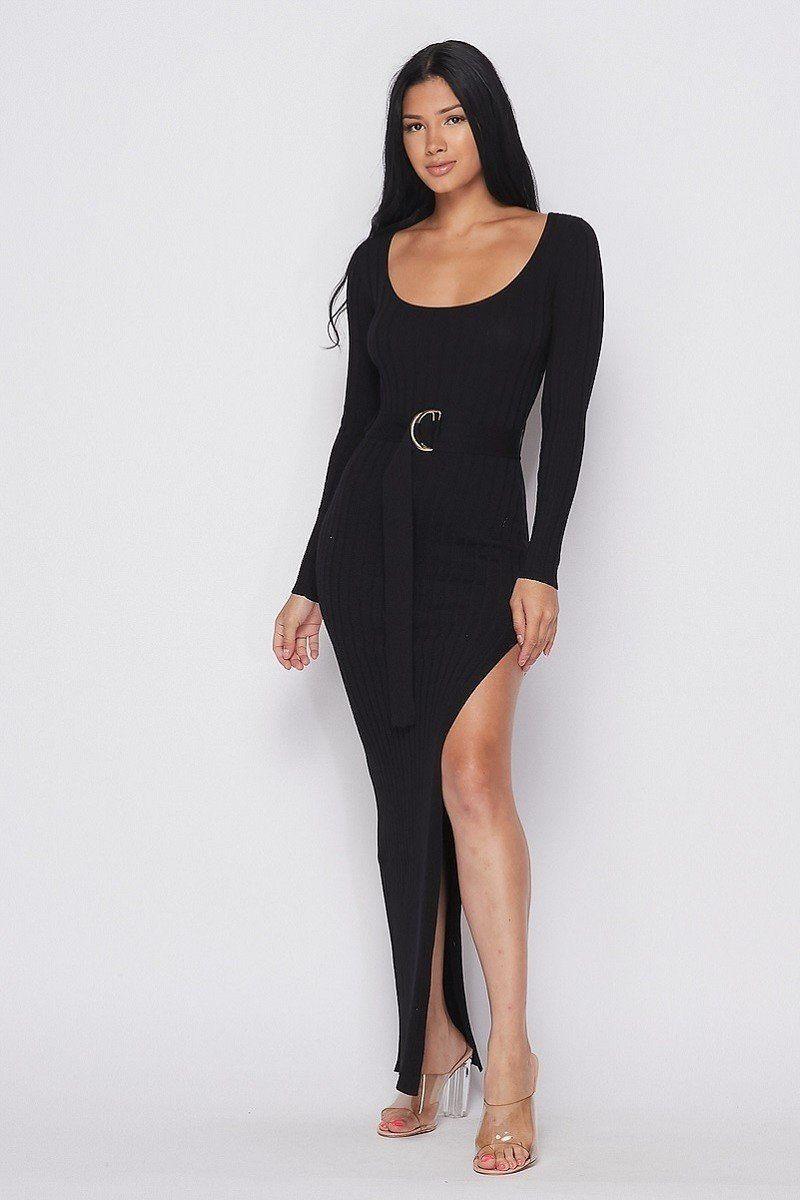 Ribbed Long Sleeve Maxi Dress - Boujee Boutique Incorporated