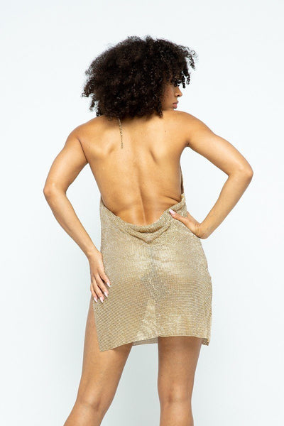 Halter Pure Metal Dress - Boujee Boutique Incorporated
