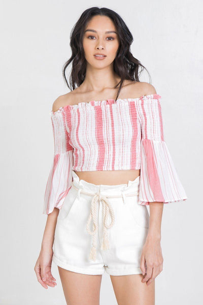 Striped Off-the-shoulder Gauze Crop Top - Boujee Boutique Incorporated