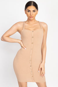 Button Down Ribbed Mini Dress - Boujee Boutique Incorporated
