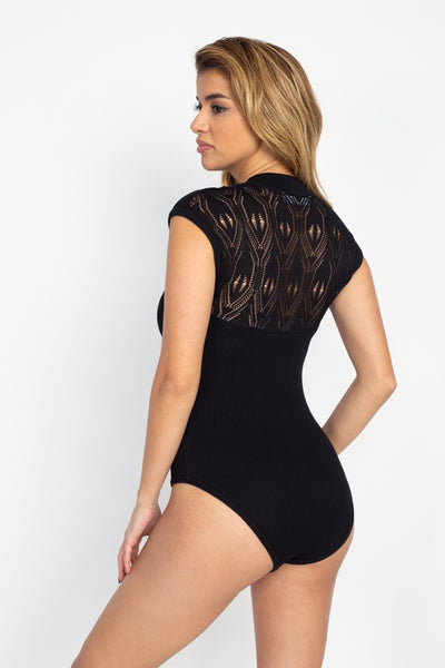 Pointelle Knit Mock Neck Bodysuit - Boujee Boutique Incorporated