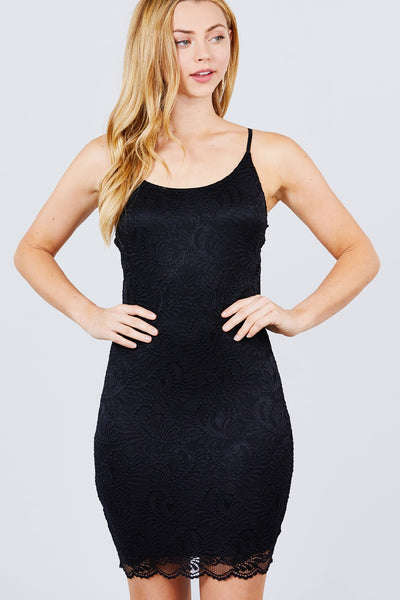 Cami Straps Round Neck Bottom Scallop Detail Bodycon Lace Dress - Boujee Boutique Incorporated