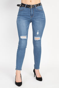 High Waist Belted Skinny Jeans - Boujee Boutique Incorporated