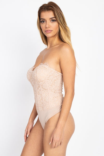 Sweetheart Floral Lace Tube Bodysuit - Boujee Boutique Incorporated