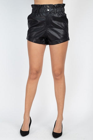 Paper Bag Pu Button Shorts Pants
