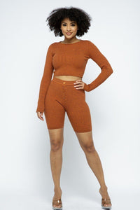 Knit Long Sleeve Cropped Top Knit High-waist Biker Shorts Set - Boujee Boutique Incorporated