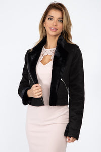 Suede Faux Fur Moto Jacket - Boujee Boutique Incorporated