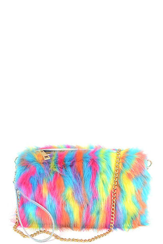Bright Multi Faux Fur Pouch Bag - Boujee Boutique Incorporated