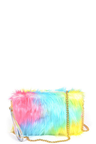 Multi Color Fur With Wrist Band Pouch Bag - Boujee Boutique Incorporated