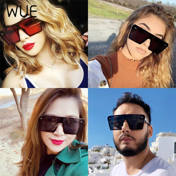 WUE 2019 Flat Top Oversize Square Sunglasses Women Fashion Retro Gradient Sun Glasses Men Blue Big Frame Vintage Eyewear UV400 - Boujee Boutique Incorporated