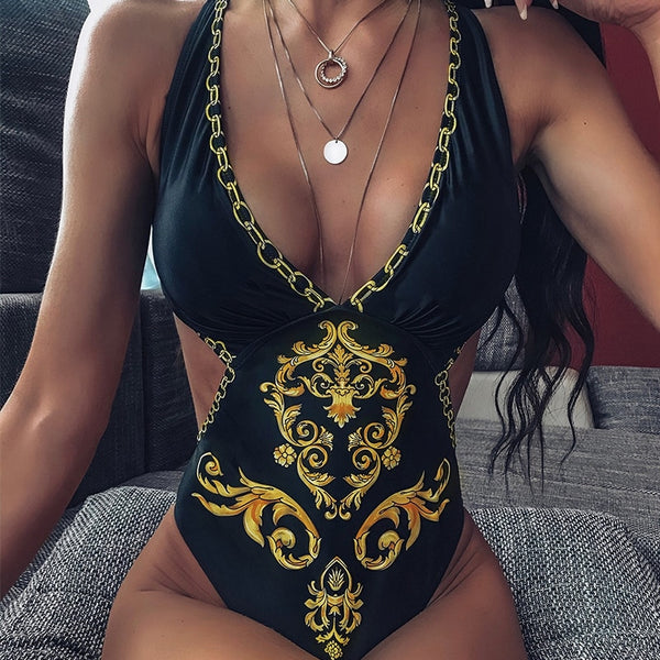X Paisley Print One Piece push up Swimsuit - Boujee Boutique Incorporated